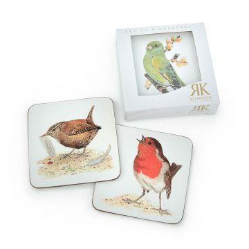 Glasunderlägg med fåglar i 6-pack