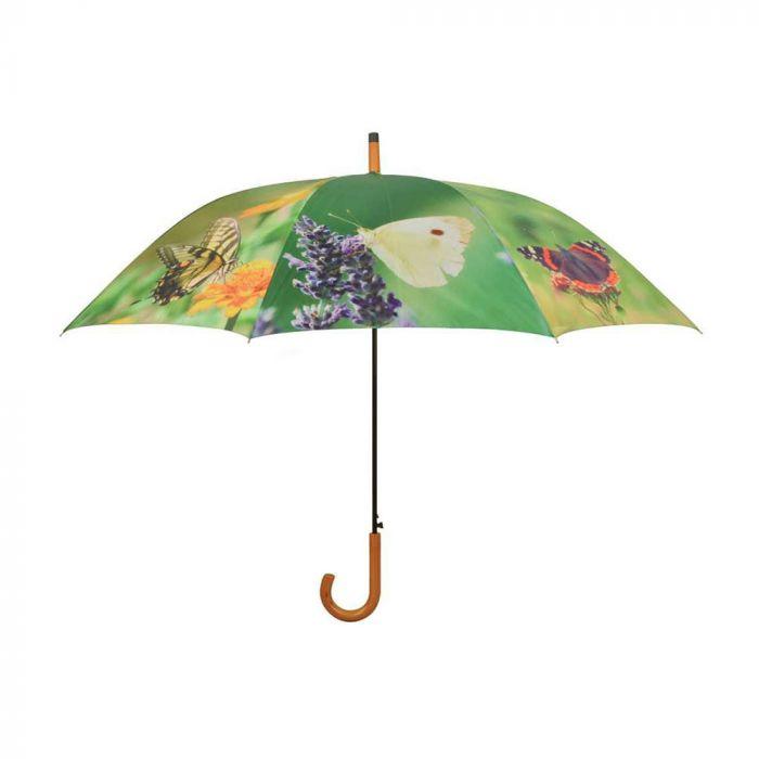 Paraply m. sommerfuglemotiv